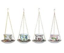 Engels koffiekopje/theekopje als vogelvoederhouder (assorti kleuren, afmeting: 14 x 14 x 8,2 cm)