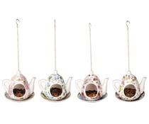 Klassieke Engelse theepot als vogelvoederhouder (assorti kleuren, afmeting 15,7 x 14,2 x 13,9 cm)