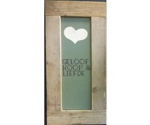 """Große Schrift Platte mit einer Liste von Gerüstholz mit Thema """"Faith, Hope & Love"""" (Größe 30 x 80 cm)"""