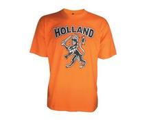 Nu bestellen? Mooie oranje Holland T-shirts (bedrukt op voorzijde met de tekst HOLLAND en de Hollandse Leeuw, 100% katoen)