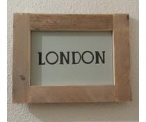"""Текст плоча, снабдена със списък на скеле дърво с тема """"LONDON"""" (размер 26 х 42 cm)"""