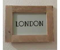 """Textplatte mit einer Liste von Gerüstholz mit Thema """"London"""" zur Verfügung gestellt (Größe 26 x 42 cm)"""