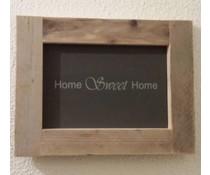 """Tekstbord voorzien van een lijst van steigerhout met thema """"Home Sweet Home"""" (afmeting 26 x 42 cm)"""