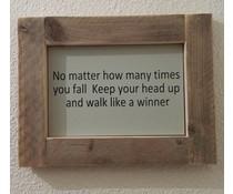 """Текст плоча, снабдена със списък на скеле дърво с тема """"No Matter"""" (размер 26 х 42 cm)"""