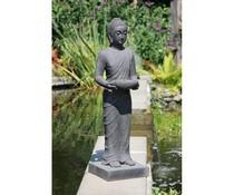 Buddha-Statue stehen mit Tablett (100 cm hoch)