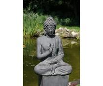 Статуя на Буда правосъдието в цвят тъмно сив / гранит (73 см височина, подходяща за вътрешно и външно)