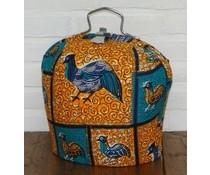 Design Theebeurs gemaakt van speciale Batik stof (ondergrond oranje en blauw met afbeeldingen van vogels)