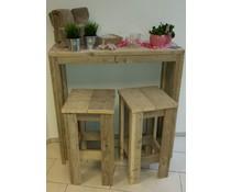 Бар маса с два еднакви столове дърво скеле (бар височина маса 110 см)