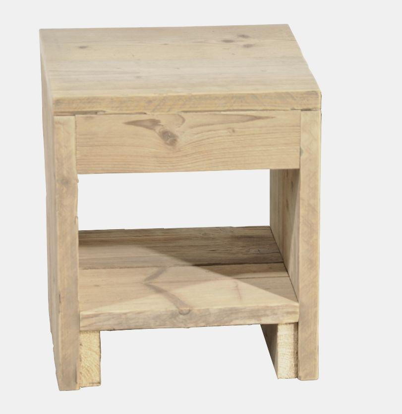 Table de chevet en bois d 39 chafaudage dimensions 40 x 45 - Dimension table de chevet ...