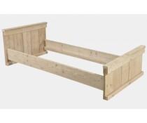 1-persoons bed gemaakt van steigerhout (het bed wordt exclusief matras en lattenbodem (90 x 200 cm) geleverd, de hoogte van het voeteneinde is 60 cm, het hoofdeinde is 80 cm)