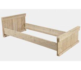 1-Personen-Bett aus Holz Gerüst gemacht