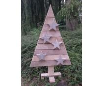 Kerstboom op voet (120 cm hoog) gemaakt van oud steigerhout