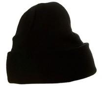 Zwarte gebreide wintermutsen (uni volwassen maat, rekbaar, 100% acryl)
