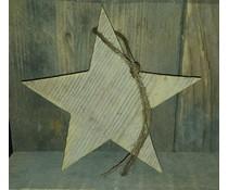 Kerstster met touwtje (gemaakt van oud steigerhout)
