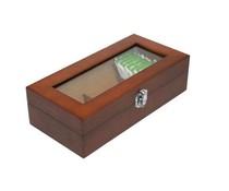 Luxe 3-vaks houten bruin gelakte Theekist (voorzien van kijkvenster)