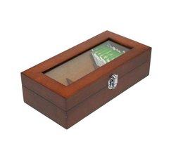 Луксозен 3-отделение дървена кафява лакирана Tea Box с прозорец!