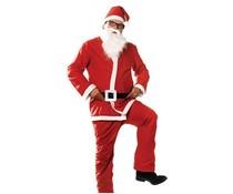 Евтини червени / бели костюми на Дядо Коледа (в комплект с шапка, брада, яке, панталон и колан)