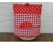 Design Theemutsen (rood met witte stippen gecombineerd met een boerenbont rood ruitje, incl. rieten mandje en bijpassende inleg geleverd)