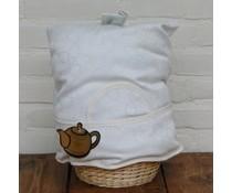 Дизайн чай Шапки (проектиране цвете светлина екрю) вкл. Wicker кошница и съвпадение на колан