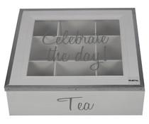 """Servies """"Celebrate the day!"""" Tea Box 9 Fächer, Farbe weiß, kennzeichnet den Text """"Feiern Sie den Tag!"""""""