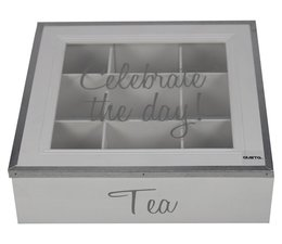 "Servies ""Celebrate the day!"" Theekist 9-vaks, kleur wit, voorzien van de tekst ""Celebrate the day!"""