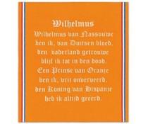"""DDDDD Oranje DDDDD Theedoeken, De Doek Die Direct Droogt (kwaliteit DDDDD) voorzien van de tekst """"Wilhelmus"""""""