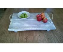 Tablett mit Seilgriffen aus neuen Holzgerüst mit grau-gewaschen behandelt wurde (Größe 40 x 60 cm)