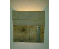 Атмосфера голяма стена светлина (направен от старо дърво док) с малка фасунга