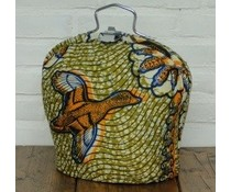 NEW! Design Theebeurs gemaakt van speciale Batik stof (fel gekleurd met afbeelding oranje eend)