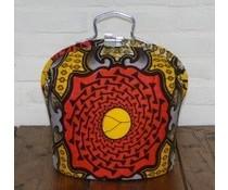 NEW! Design Theebeurs gemaakt van speciale Batik stof (gekleurd in de kleuren roodoranje, geel en grijs)