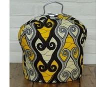 NEW! Design Theebeurs gemaakt van speciale Batik stof (figuren in de kleuren zwart, grijs en geel)