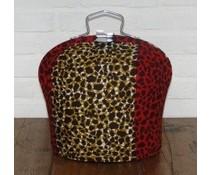 NEW! Design Theebeurs gemaakt van speciale Batik stof (stippen in de kleuren zwart, rood en geel)