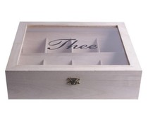 8-отделение бяло Tea Box (с прозорец за наблюдение, размер 275 х 230 х 75 mm)