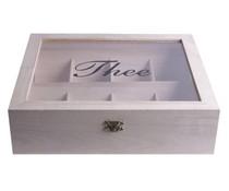8-vaks witte Theekist (voorzien van kijkvenster, afmeting 275 x 230 x 75 mm)