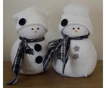 NEW! Deco Schneemänner 15 cm hoch (handgefertigt in den Niederlanden, farblich sortiert)