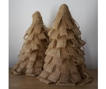 NEW! Deco kerstboom ca. 32 cm hoog (handmade in Nederland, gemaakt van jute stof in laagjes gesneden)