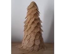 NEW! Декорирането коледна елха около 28 см висока (ръчна изработка в Холандия, изработен от тъканите от юта, нарязани на кръгове)