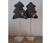 NEW! Deco kerstboom in de kleur grijs, ca. 36 cm hoog (handmade in Nederland, met de hand gehaakt op een steigerhouten voet)