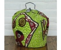 NEW! Design Theebeurs gemaakt van speciale Batik stof (groen met stippen en figuren)
