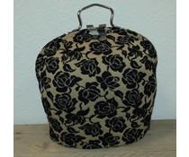 Design Teapot топло (dessin стари заоблени бежово с черни цветя)