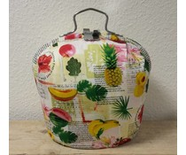 Design Teapot warmer (patterned with images of fruit and texts)