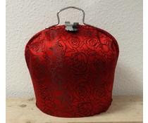 Design Theepot warmer (modern dessin in de kleur glimmend rood met zwarte roos contouren)