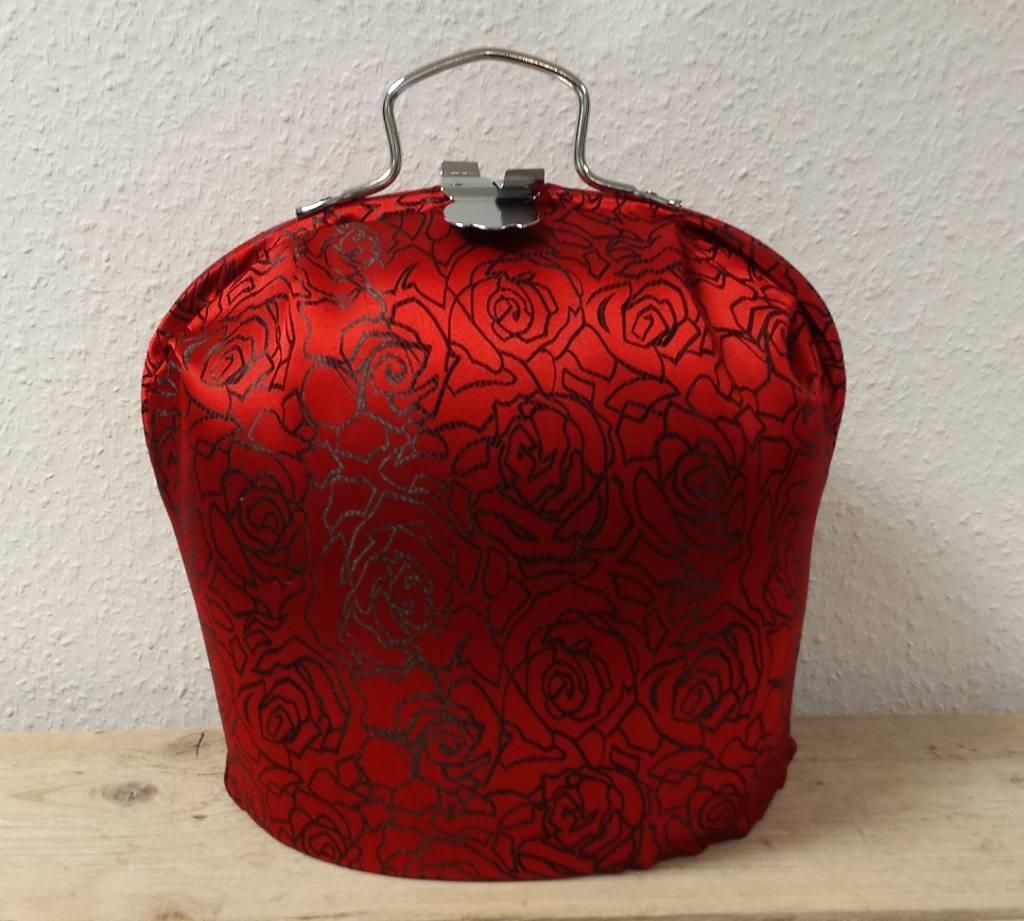 Design teapot varmare (modern design i färgen glänsande röd ros ...