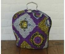 NEW! Design Theebeurs gemaakt van speciale Batik stof (paars, oker en wit met grote ruiten)