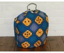 NEW! Design Theebeurs gemaakt van speciale Batik stof (ruiten blauw en oranje dobbelstenen)