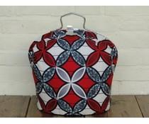 NEW! Design Theebeurs gemaakt van speciale Batik stof (rode, witte en zwarte bloemfiguren)