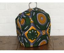 NEW! Design Theebeurs gemaakt van speciale Batik stof (figuren in de kleuren wit, groen, oker en paars)