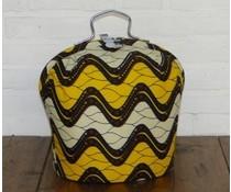 NEW! Design Theebeurs gemaakt van speciale Batik stof (golven in de kleuren wit, oker en zwart)