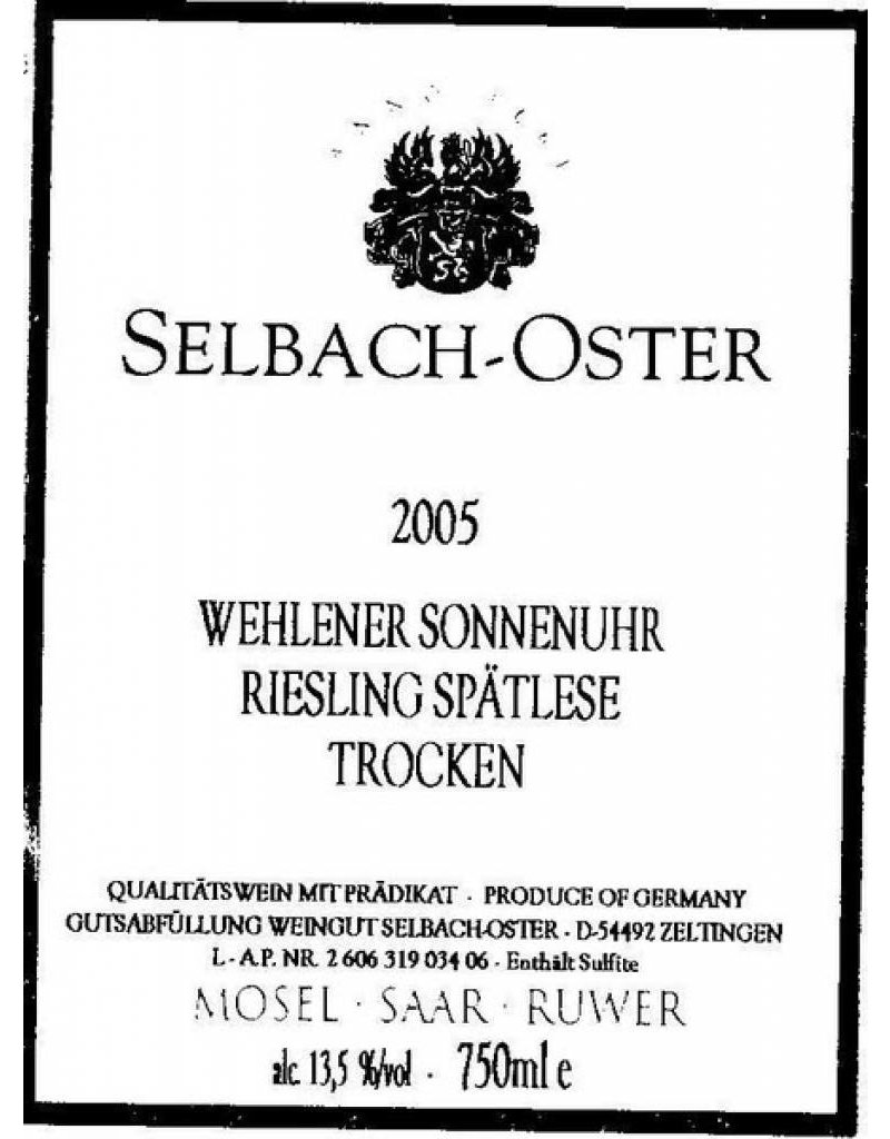 Selbach-Oster 2002 Selbach-Oster Wehlener Sonnenuhr Riesling Spatlese
