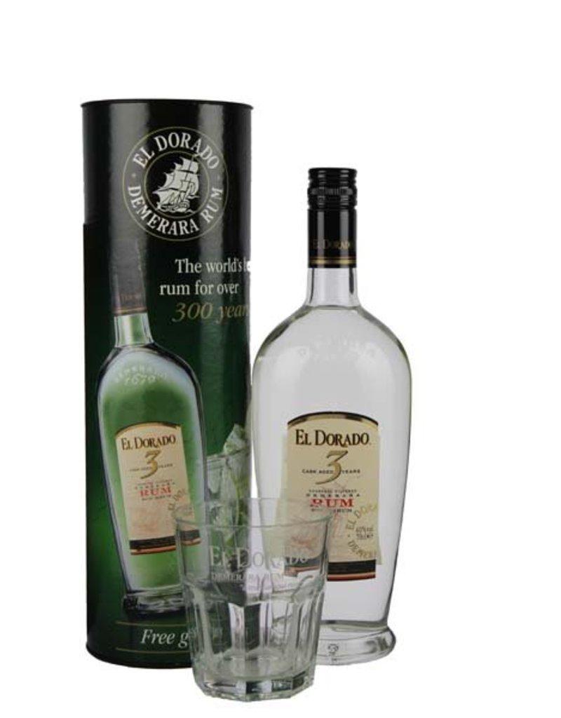 El Dorado El Dorado Rum 3YO 700ml + Glas Gift box